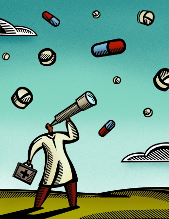 one man only: Doctor looking through a telescope at pills falling from the sky