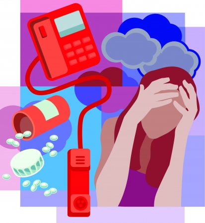 Collage of a bottle of spilled pills; a telephone with receiver off the hook and a woman holding head with clouds behind Stock Photo