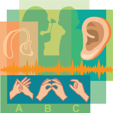 Collage di un medico guardare dentro l'orecchio di un paziente, un orecchio, un apparecchio acustico e il linguaggio dei segni Archivio Fotografico - 14908683