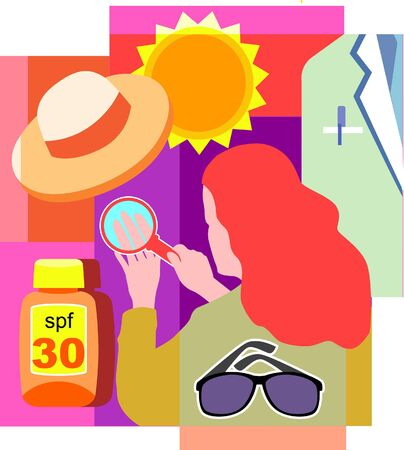 Collage of a sun; a hat; a doctors white coat; sunglasses; sunscreen; and a woman looking at her skin under magnifying glass