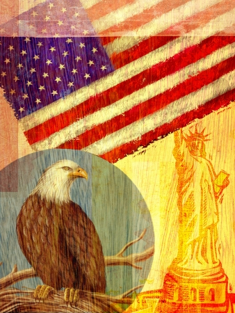 Collage depicting the United States with an eagle; flag; and the Statue of Liberty photo