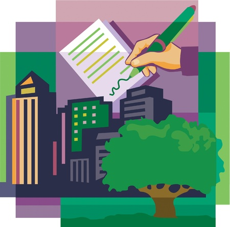 signing: A montage of a tree; high-rise buildings; and a hand signing documents