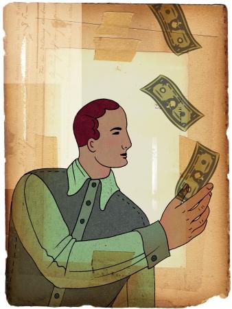 上からの落下は紙幣を引く男 写真素材