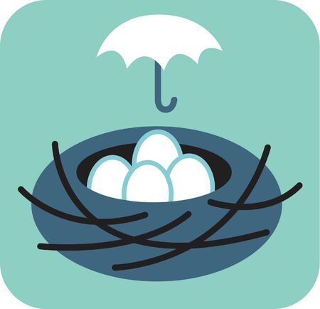 beginnings: Nest of eggs with umbrella over it Stock Photo