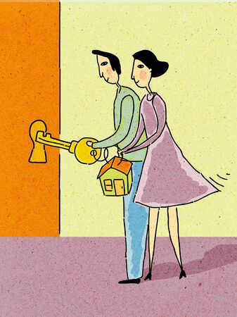 money matters: Couple holding house key to unlock door Stock Photo