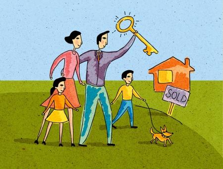 planificacion familiar: Familia que se coloca delante de una casa con signo VENDIDO, el padre mantiene pulsada la tecla Foto de archivo