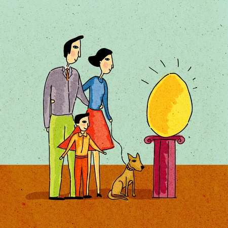Family looking at giant golden egg on a pedestal photo