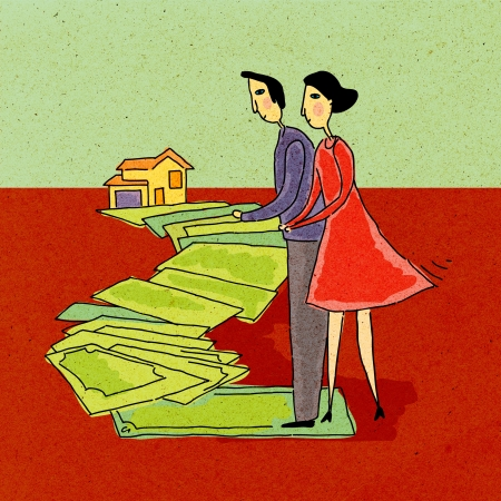 Couple walking along a path of money leading to a house Standard-Bild