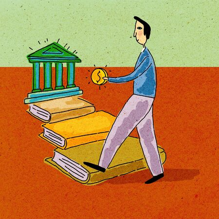 college fund savings: A man holding money; walking along a path of books towards a bank Stock Photo