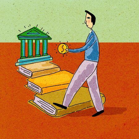 A man holding money; walking along a path of books towards a bank photo