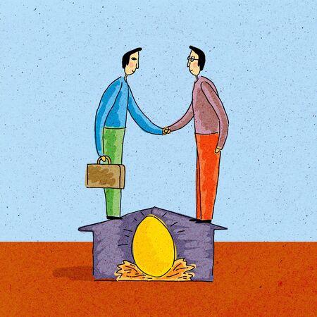 gniazdo jaj: Dwóch mężczyzn drżenie rąk, stojących na domu; ponad skarbonkę Zdjęcie Seryjne
