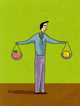 Un uomo in possesso di due scale, pesare i soldi e una mela Archivio Fotografico - 14916864