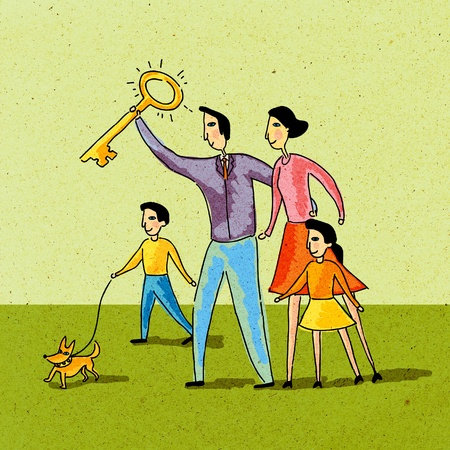 Family holding a golden key and walking their dog photo