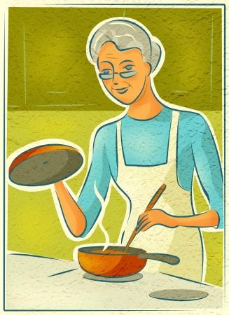 高齢者の女性、ストーブで調理
