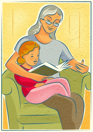 An elderly woman reading a book with a young girl photo