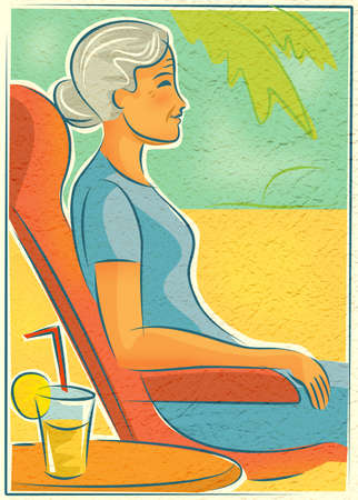 contentment: An elderly woman relaxing in a chair outdoors with a drink Stock Photo