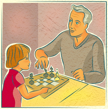 An elderly man playing chess with a young child photo