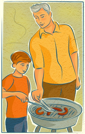 An elderly man barbecuing with a young boy
