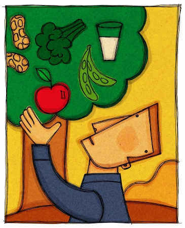 fruit: A man picking an apple from a tree filled with different food groups