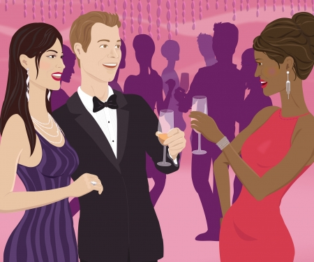 wealthy lifestyle: A woman toasting a couple at a party Stock Photo