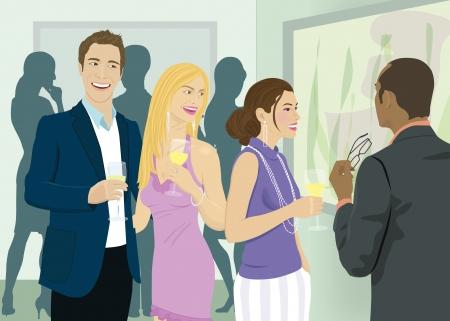socializando: Las personas que socializan con bebidas en una fiesta