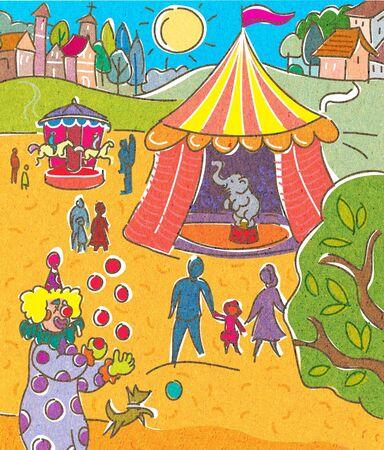 Een circus en een stad op de achtergrond Stockfoto