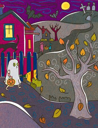 trick or treating: A child dressed as a ghost trick or treating on Halloween