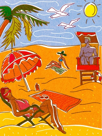 loungers: People relaxing and suntanning on a beach