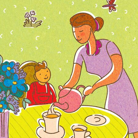A mother pouring tea for her child photo