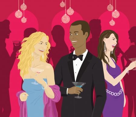 socializando: La gente socializar con cócteles en una fiesta Foto de archivo