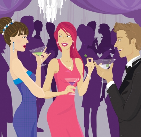 party background: People socializing at a cocktail party Stock Photo