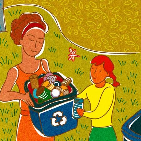 domestic chore: Una ni�a ayuda a una mujer reciclar Foto de archivo