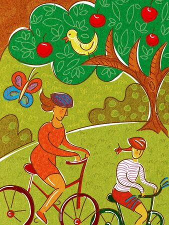 weekend activities: A mother and daughter riding bikes in the park