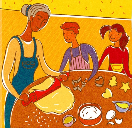 cookie cutter: A mother and children making cookies