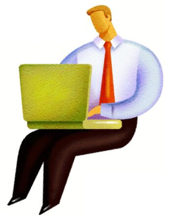 Illustration of a man using his laptop