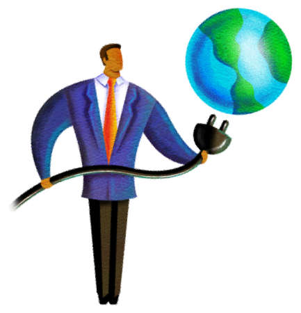 plugging: Illustration of a person putting a plug into the earth