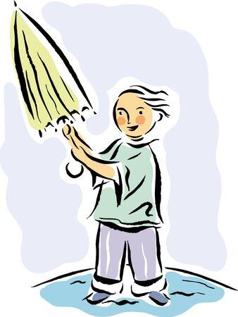 imagezoo: Small boy opening an umbrella