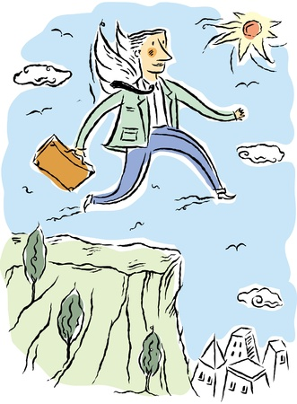 Business man leaping from cliff Stock Photo - 14914111