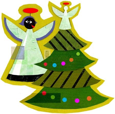 천사와 크리스마스 트리