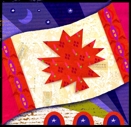 nightime: A drawing of a Canadian flag