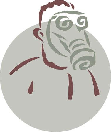 gas man: A man wearing a gas mask