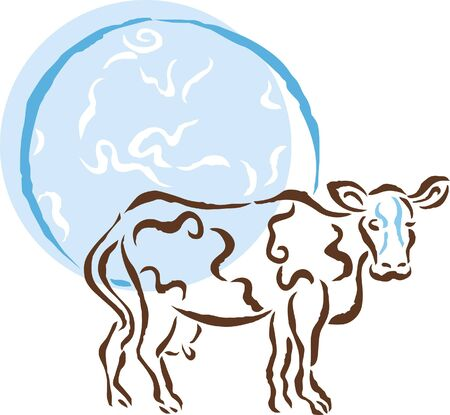 terrestrial mammals: A cow standing in front of the earth Stock Photo