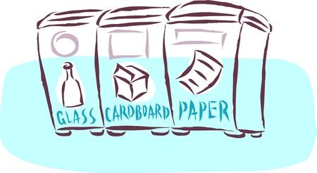 Le verre; bacs de recyclage de carton et de papier Banque d'images - 14912288