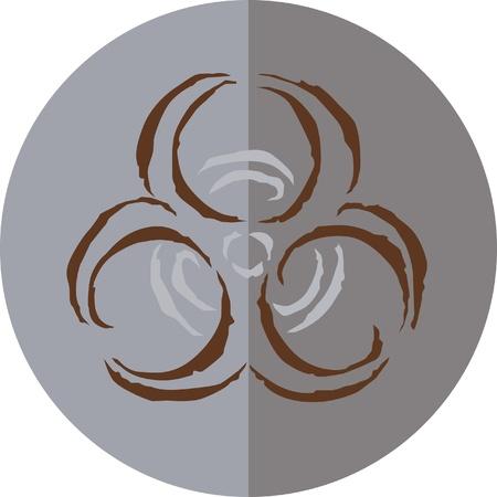biohazard: A circular sign with biohazard symbol Stock Photo