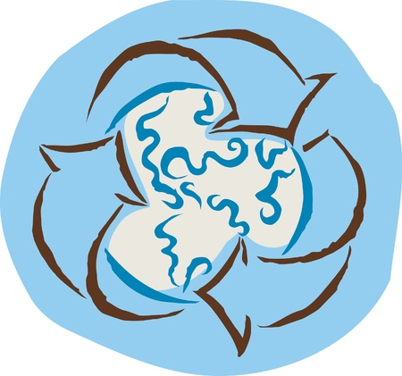 enveloping: A recycle symbol enveloping the earth