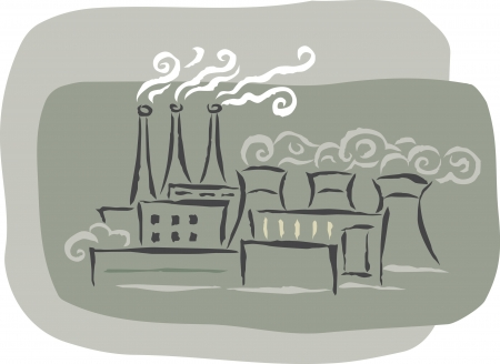 air pollution cartoon: A factory with smoke stacks emitting fumes