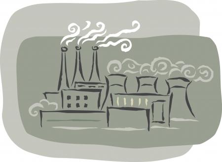 Een fabriek met rook stapels uitzenden dampen Stockfoto