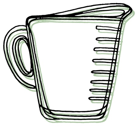 measuring cup: A measuring cup