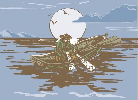 hombre pescando: Un hombre pesca en el mar Foto de archivo