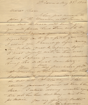 An old handwritten letter from 1844